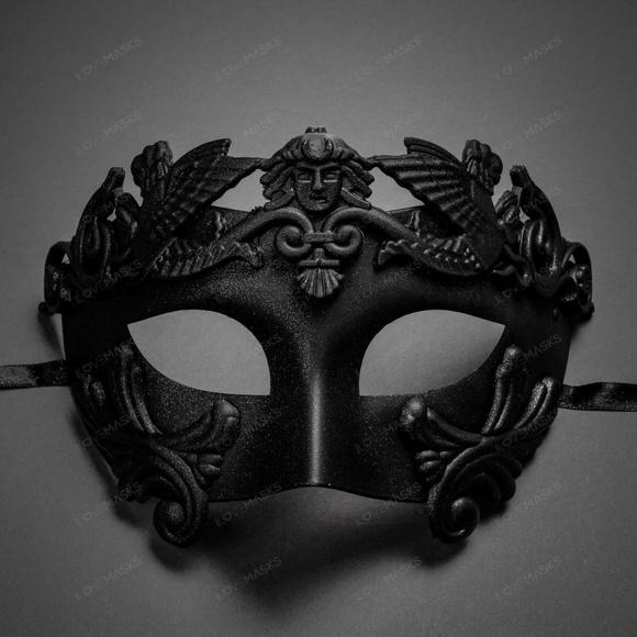 Black Roman Empire Army Venetian Masquerade Halloween Costume Prom Mask